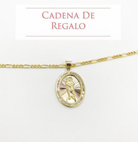 Medalla San Judas Tadeo Estrella Oro 10k + Cadena De Regalo