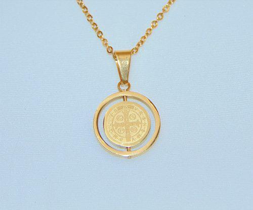 Medalla Y Collar San Benito Laminado Oro Envío Gratis