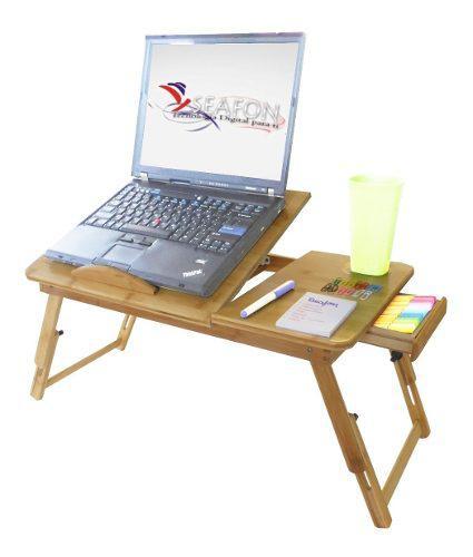 Mesa De Cama Bambu Base Enfriadora Para Laptop 2 Ventiladore