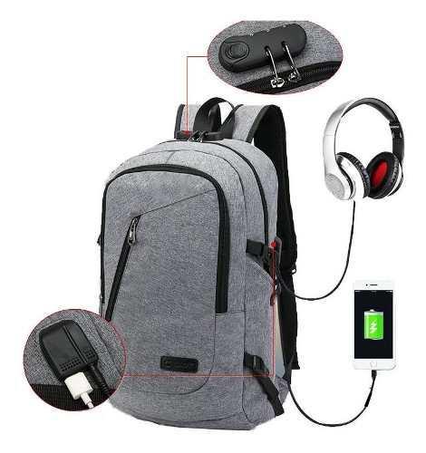 Mochila Antirrobo Impermeable Laptop Tablet Backpack Usb