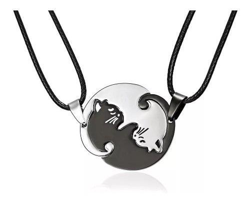 Par Collar Yin Yang Acero Inoxidable Gato Parejas Con Envio