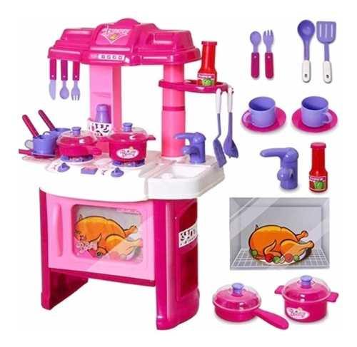 Cocina Cocinita Infantil Niña Luz Y Sonido Alto 63 Cm Acc