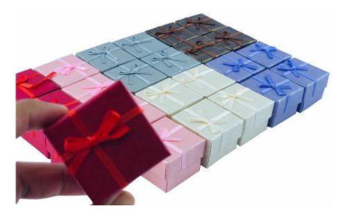 Paquete 24 Cajas Regalo Colores Bisutería Anillos Mayoreo