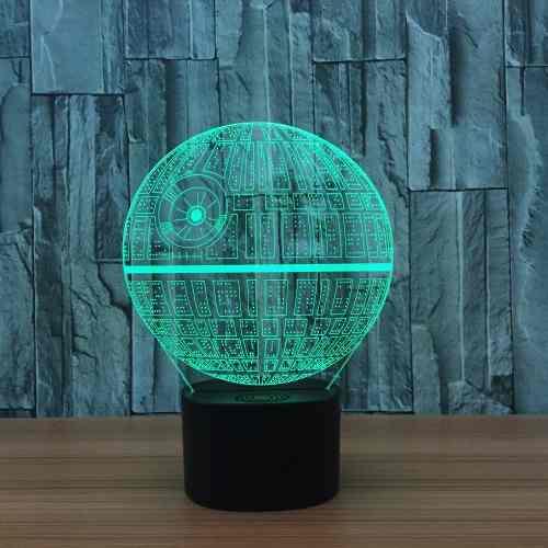 Bocina Bt Lámpara Led 3d Estrella De La Muerte Star Wars Tf