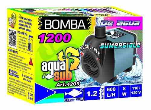 Bomba De Agua Sumergible Acuario Fuente 600 L/h 1.2m