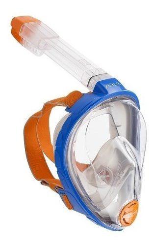 Mascara Y Snorkel Modelo Aria Ocean Reef Azul Talla S/ M
