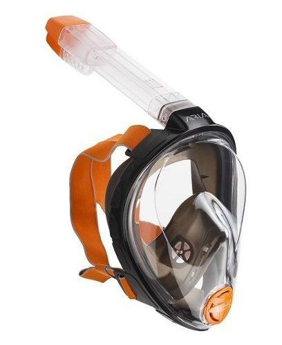 Mascara Y Snorkel Modelo Aria Ocean Reef Negra Talla L/ Xl