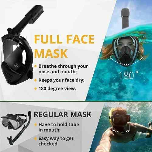 Máscara De Buceo Máscara De Snorkel Panorámico Negro L /