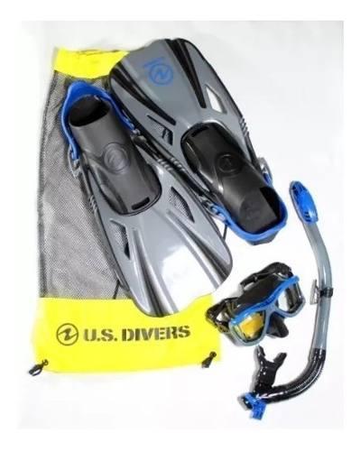 Set Snorkel Buceo Con Aletas Us Divers De Adulto Azul