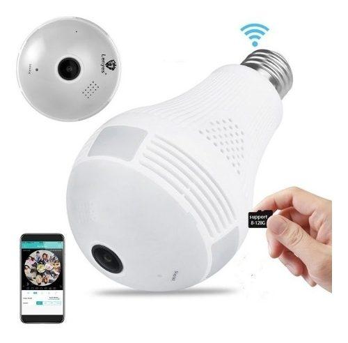 Foco Camara Espia 360° Wifi App Vision Nocturna Y Microfono