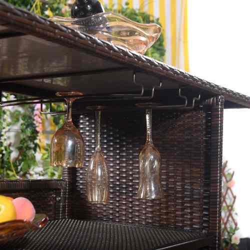 Mesa De Mimbre Café Para Exteriores Con 2 Estantes Goplus