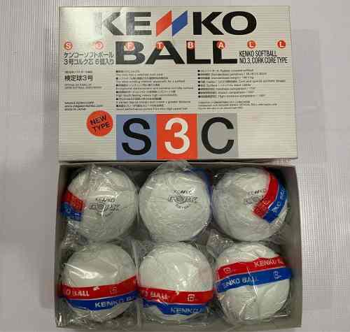Pelota Kenko Softbol Hule Caja De 6 Piezas Sello Negro #3