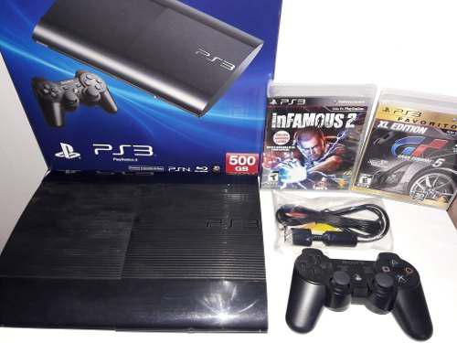 Play Station 3 Super Slim 500gb 1 Control 2 Juegos Blu-ray