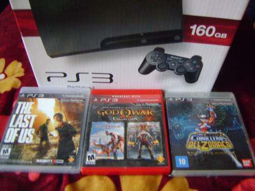Playstation -3 Slim Completo De 160 Gb Con Caja Y Juegos