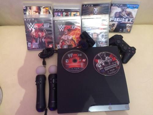 Playstation 3 Slim Con Juegos Y Sensores De Movimiento.