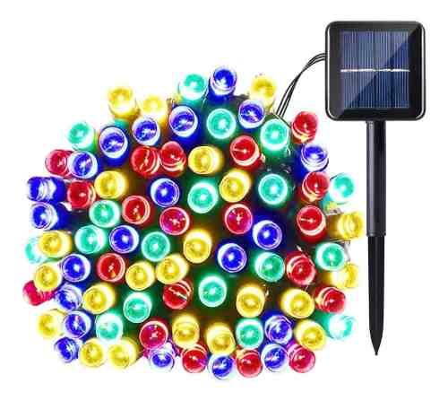 Serie Navideña Solar 100 Leds 12m Automática Recargable