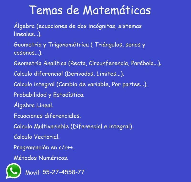 Clases a domicilio de Matemáticas y Física