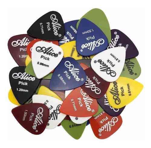70 Plumillas Puas Guitarra O Bajo Varios Colores Y Grosores