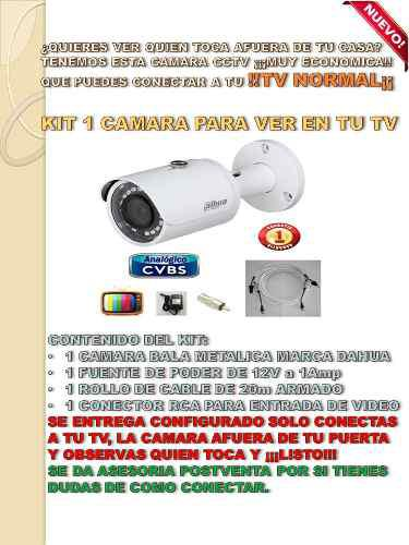 Camara Bullet Exterior Cable Fuente Rca Conecta A Tv Dahua