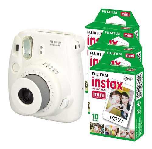 Camara Fujifilm Instax Mini 8 Blanca Con 30 Peliculas Y Prot