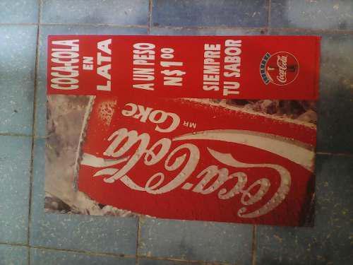 Cartón De Publicidad De Coca Cola De Lata De 40 X 60 A Un