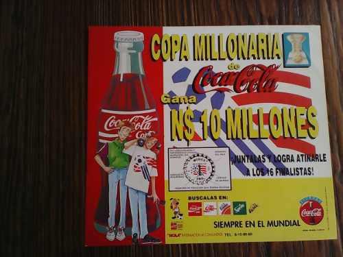Carton De Publicidad De Coca Cola Copa Millonaria De 1994