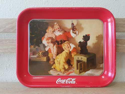 Charola Coca Cola Antigua Vintage Santa 1986 Envio Gratis