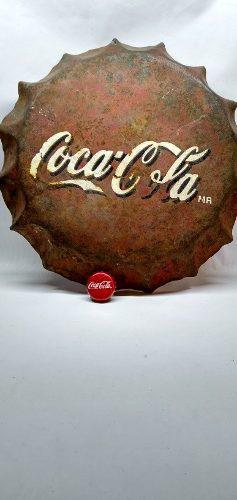 Corcho Lata De Anuncio De Coca Cola. De Lámina De 26 Cm
