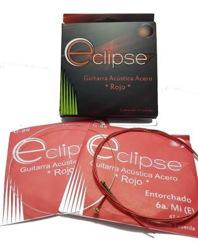 Cuerdas Para Guitarra Acustica Acero Roja Marca Eclipse