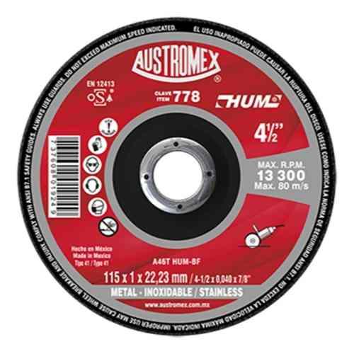 Disco Corte Metal/inox 4-1/2 Aux778 Austromex