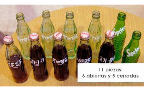 Lote-11 Mini Botellitas Coca Cola Sprite 80s Coleccionables