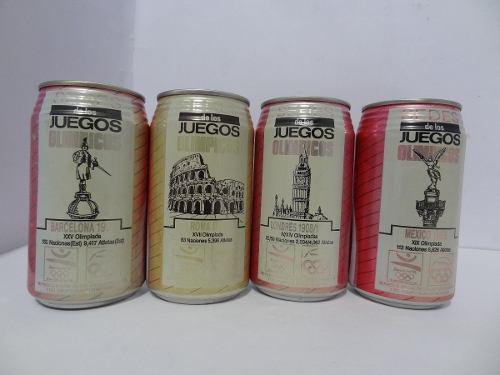 Lote 4 Pz Sedes De Los Juegos Olimpicos Latas Coca Cola 1992