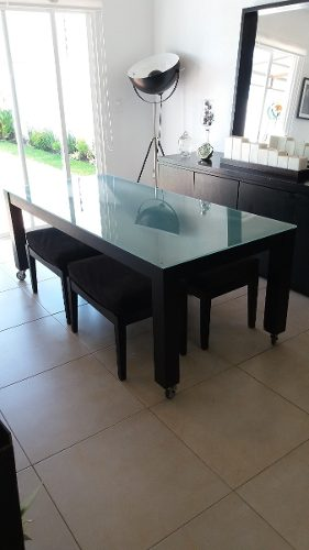 Comedor Moda In Casa Cristal Templado Mesa 4 Bancos Negro