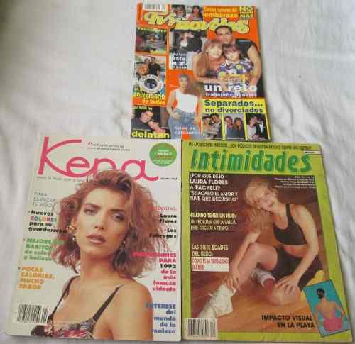 Laura Flores. Lote De 3 Revistas. Kena, Intimidades, Tvyn