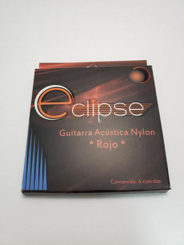 Cuerdas Para Guitarra Acustica Nylon Color Rojo Eclipse