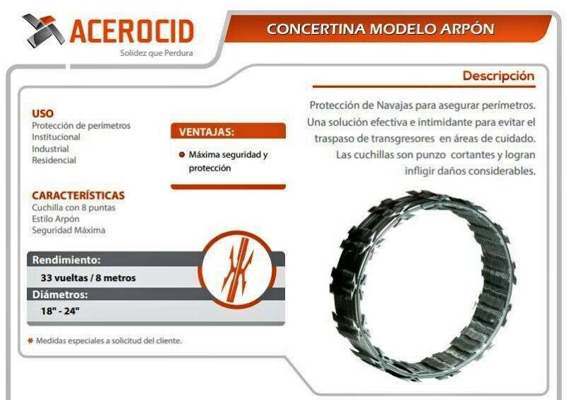 Venta de Concertina contamos con modelos Industrial,Arpón y