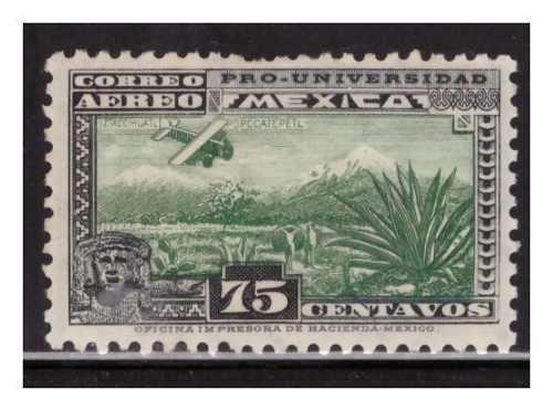 1934 Pro Universidad 75 Cts Sc C56 Nuevo Mh Volcanes Verde