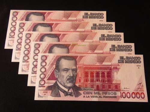 Billete 100,000 Plutarco Elias Serie A Venadito 1988 Nuevo