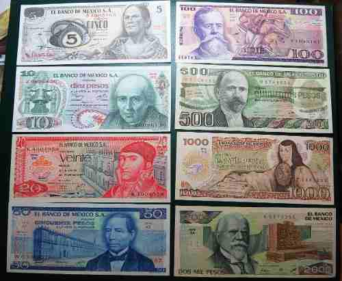 Billete Antiguo 8 Billetes Banco De Mexico Sin Circular
