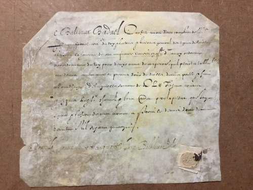 Documento Antiguo. Siglo Xvii. En Francés. Con Sello