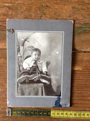 Fotografia Antigua De Bebe Dedicada Con Fecha De 1903