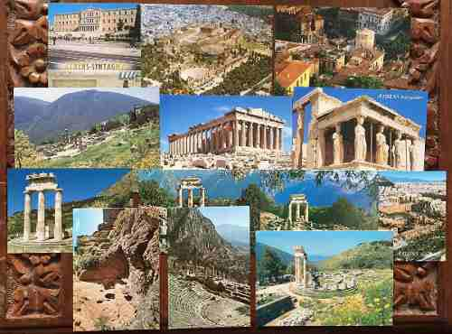 Grecia Lote De Tarjetas Postales Atractivas Coloridas Ganga