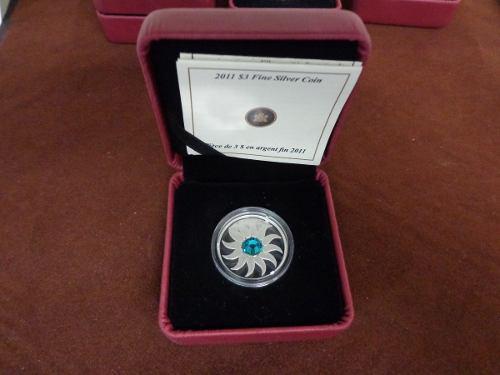 Moneda 3 Dolares Canada 2011 Cristal Swarovsky Esmeralda