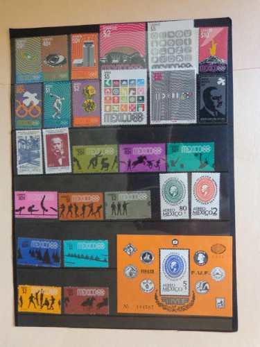 México Colección Completa Timbres Postales Año 1968.