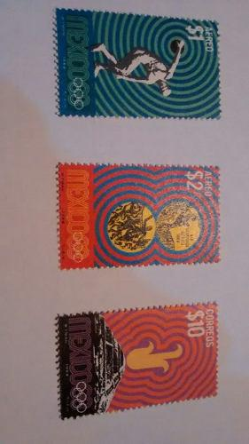 Timbre Postal Olimpiadas Mexico 1968 Set 3 Piezas Envio $20