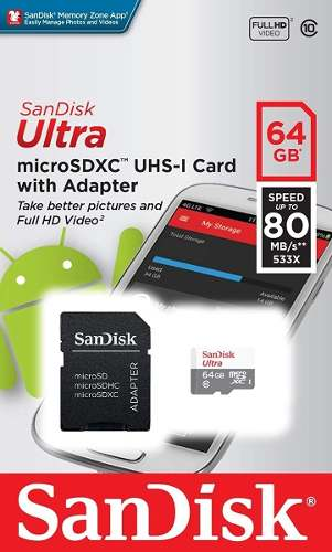 Memoria Micro Sd 64gb Sandisk Clase 10 Video Full Hd Nueva