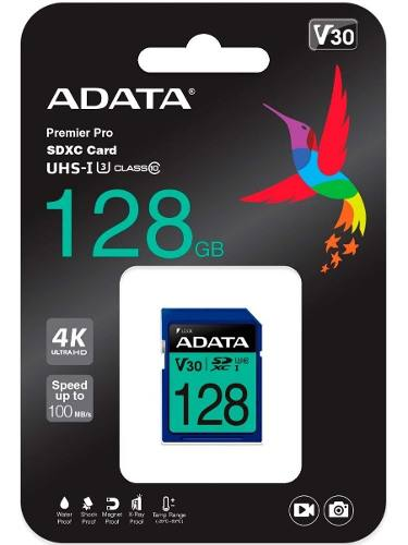 Memoria Sd 128gb Adata Clase 10 Video V30 Ultra Hd 4k Camara