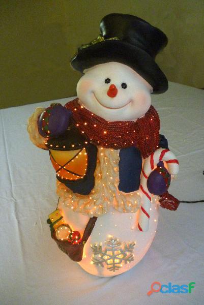 Muñeco De Nieve Navideño Con Fibra Óptica.