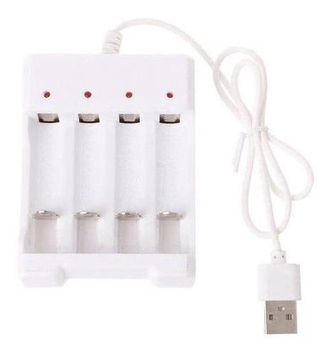Cargador Usb De 4 Baterias Pilas Recargables Aa Aaa
