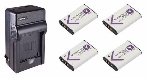Kit 1 Cargador + 4 Baterias Np-by1 Para Cámara Sony